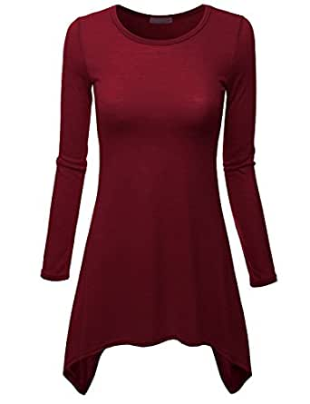Doublju Long Sleeve Crewneck Cotton Knit Asymmetrical Tunic Top For Women With Plus Size WINE SMALL