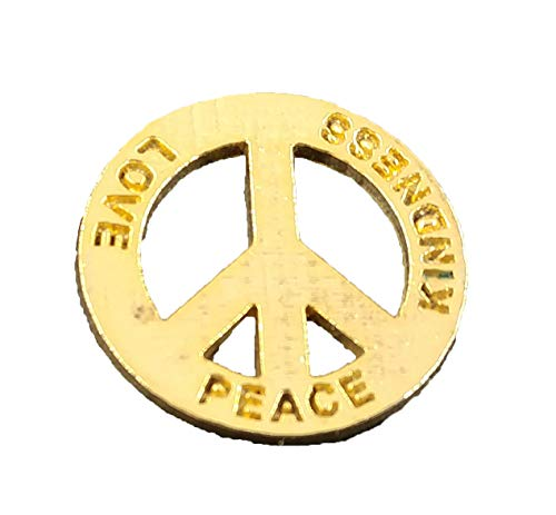 Creative Pewter Designs Peace Sign Symbol Engraved Peace, Love, Kindness 22k Gold Plated Lapel Pin, Brooch, Jewelry, AG250