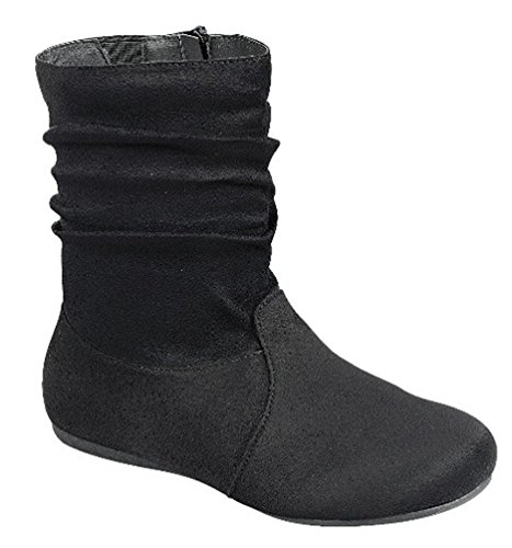 Selena Side 03 58 Black Zipper Slouch Forever Fashion Boots Heel Women's Flat Mid Calf 4wwFq8d