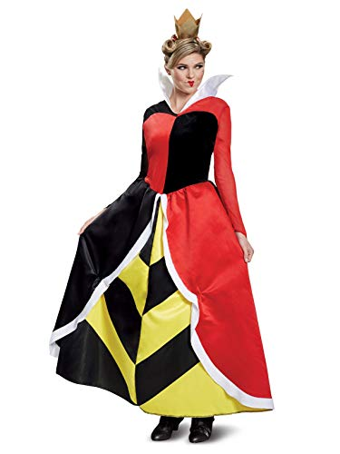 Disguise Women's Queen of Hearts Deluxe Adult Costume, red, M (8-10)