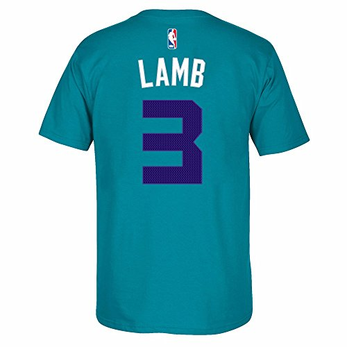 Jeremy Lamb Charlotte Hornets NBA Adidas Men Teal Official Player Name & Number Jersey T-Shirt (M)