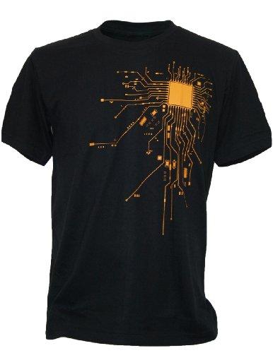 SODAtees Computer Chip CPU CORE Heart Men's T-Shirt Geek Nerd - Black - X-Large