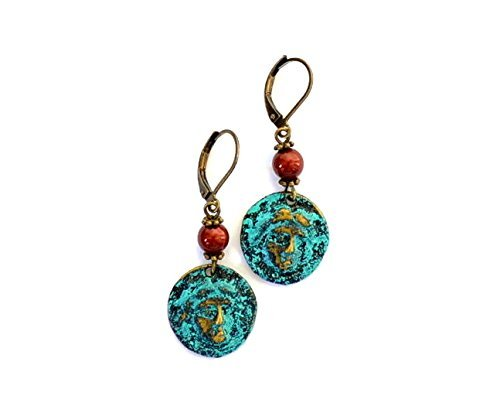 - Small Archaic coin earrings in blue with burgundy Swarovski pearl