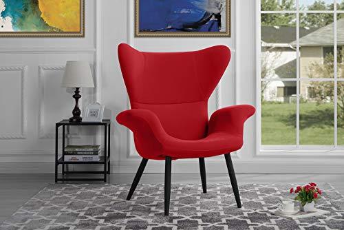 Modern Velvet Accent Chair (Red)