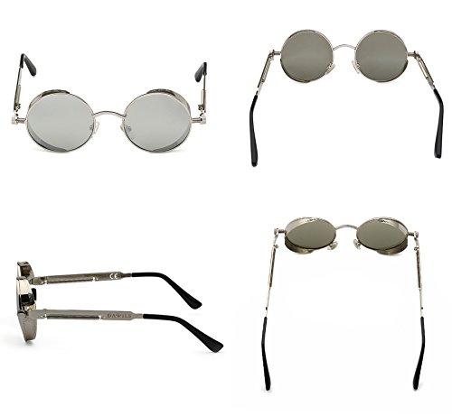 Espejadas Retro Plateado de 1 Mujer Lentes Marco Redondas Metálico Gafas Plateado Sol DAWILS Polarizadas Lennon John Estilo CSqvTT6U