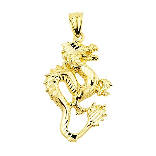 (Chinese Dragon 10k Yellow Gold Charm Pendant)