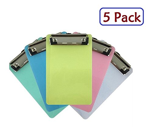 A6 Mini Clipboard,Pretty Cute Clipboard Memo Size Pocket Clip Boards 5x7 Inch,Set of 5