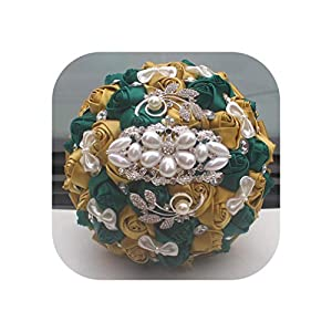 Magic Day Golden with Emerald Green Artificial Rose Bride Bouquet with Diamond Ribbon Wedding Bouquet Decoration Flowers,18cm Gold Dark Green 60