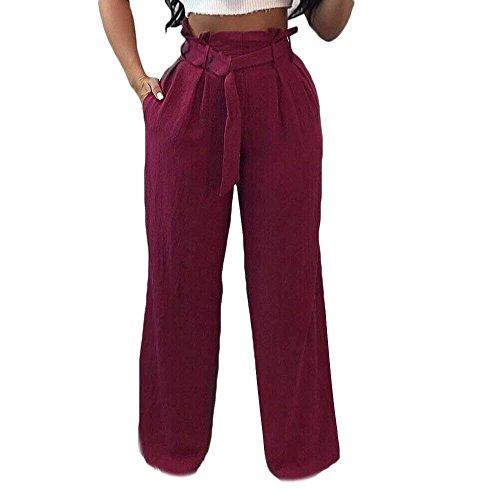 Di Pantaloni Whiterot Lunga Alta Pantaloni Modern Moda Vita Stoffa Semplice Cintura Baggy Con Autunno Primaverile Pantaloni Moda Inclusa Glamorous Donna Pantaloni Larghi Di Baggy Eleganti Tasche Pantaloni 15gFwYxT