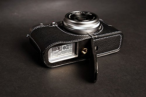 Handmade Genuine real Leather Half Camera Case bag cover for FUJIFILM X100T Black Bottom opening Version