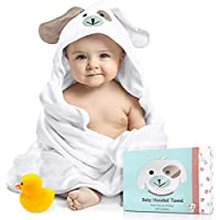 FOREVERPURE Baby Hooded Towel 100% Organic Bamboo Cotton, Super Absorbent, for Boys and Girls. Ultra Soft, X-Large, 35 x…