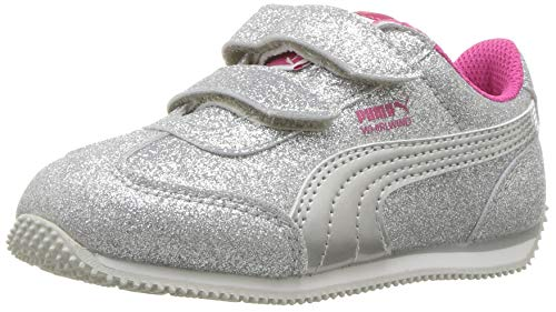 PUMA Baby Whirlwind Glitz Velcro Sneaker, Silver-Beetroot Purple-Gray Violet, 6 M US Toddler