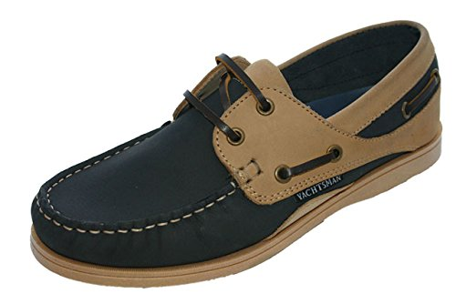 Chaussures bateau en nubuck pour femme Taille 37–41 - multicouleur - Bleu marine/beige,