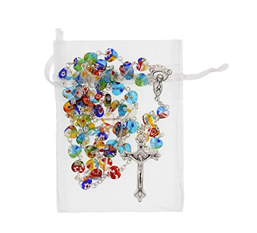 21-inch Heart Shaped Multi Colored 8mm Glass Bead Rosary