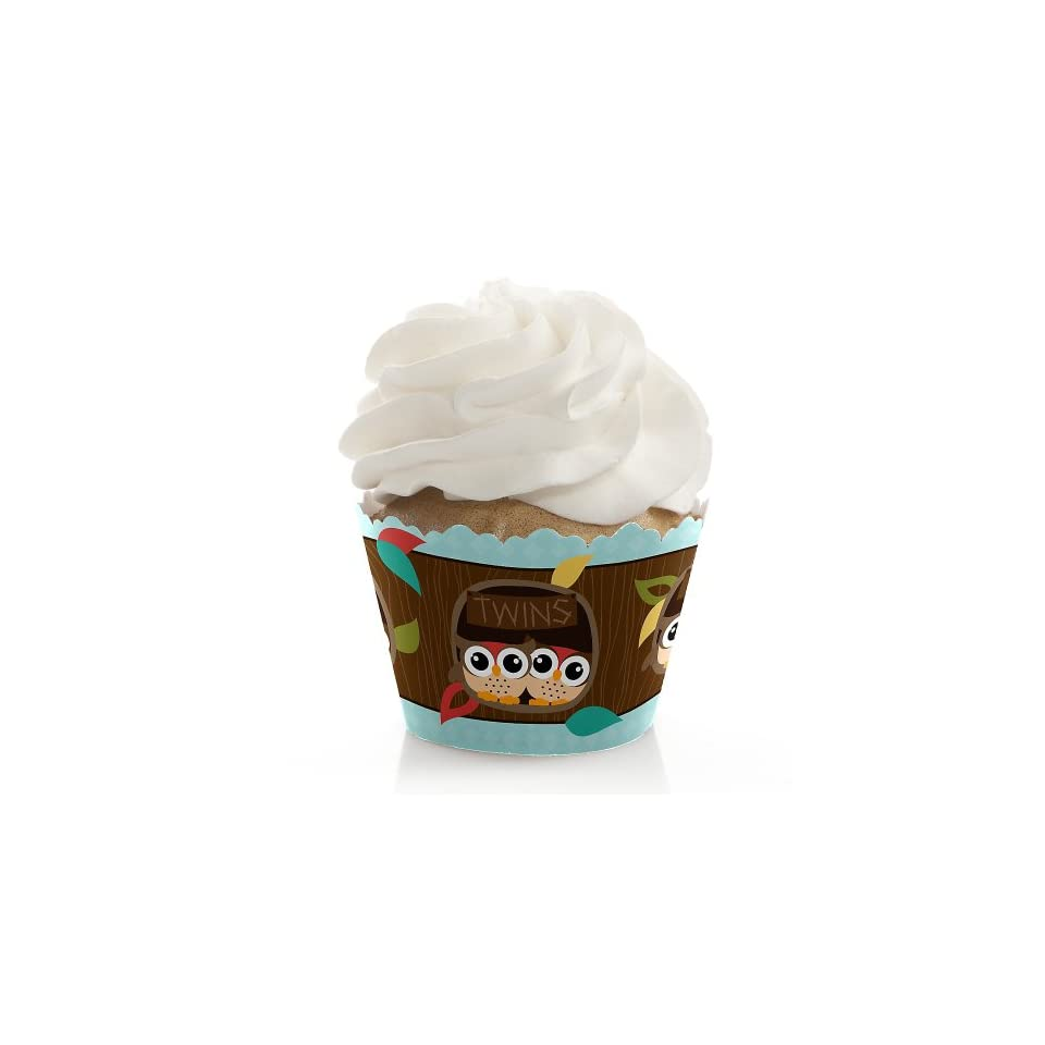 Owl   Look Whooos Having Twins   Baby Shower Cupcake Wrappers