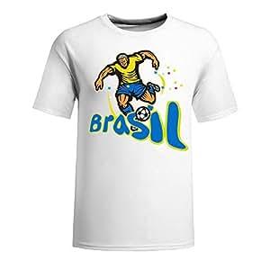 Custom Mens Cotton Short Sleeve T-shirt,2014 Brazil FIFA World Cup soccer_player_runkick BRASIL white