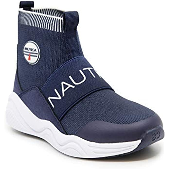 Nautica Kids Boys Silas Youth High-Top Sock Slip-On Sneaker with Extra Ankle Support