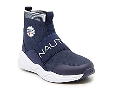 Nautica Kids Boys Silas Youth High-Top Sock Slip-On Sneaker with Extra Ankle Support-Navy-1