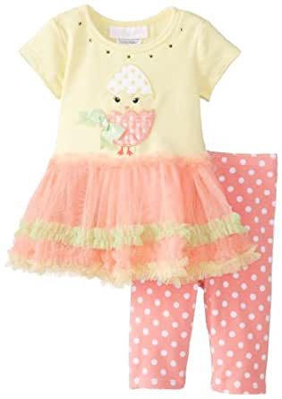 Bonnie Baby Baby-Girls Newborn Chick Applique Tutu with Capri, Yellow, 3-6 Months