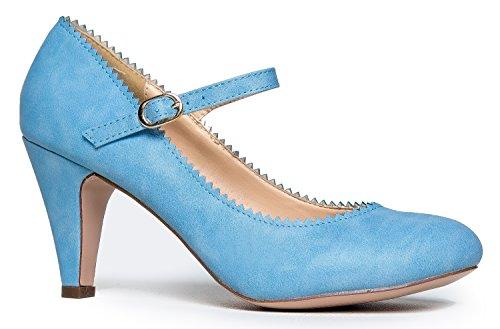 Mary Jane Kitten Heels, Vintage Retro Scallop Round Toe S...