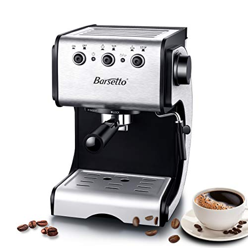 Barsetto Espresso Machine, Cappuccino Maker, Latte Coffee Maker, Moka Maker, Espresso Maker with Milk Frother, 15 Bar Pump, 1050W, Stainess Steel