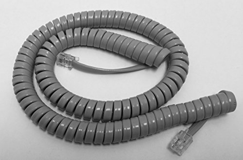 The VoIP Lounge 12 Ft Dolphin Gray Curly Handset Receiver Curly Coil Cord for Nortel Meridian Norstar M Series Phone M7100 M7208 M7310 M7324 M2008 M2616 M5316
