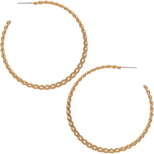 (Humble Chic Big Hoop Earrings - Textured Open Round Statement Loops with Hypoallergenic Stainless Steel Post, Twisted Braid 18K Yellow, Gold-Electroplated)