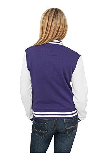 Veste de sport du cou Purple longues ras Teddy white Femme Urban Manches Classics Col E16nFAqxw5
