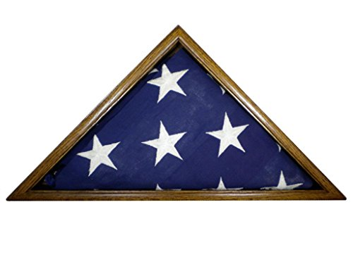 Solid-Oak-Flag-Display-Case-5-x-95-Veteran-Memorial-Burial-Flag-USA-Made-Fine-Furniture-Quality