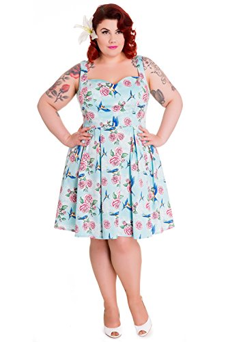 Hell Bunny Plus Victorian Cottage Happy Bluebird & Pink Rose Blue Mini Dress (2XL)