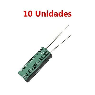 10x Condensador Electrolitico Polarizado 3300uF 6.3V 25x10mm