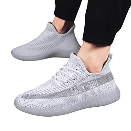 2390f19ebd015 Wkgre Men Athletic Shoes Solid Crystal Sole Fly Knit Running Shoe  Breathable Lightweight Outdoor Classic Casual Sneakers (US:8, White)