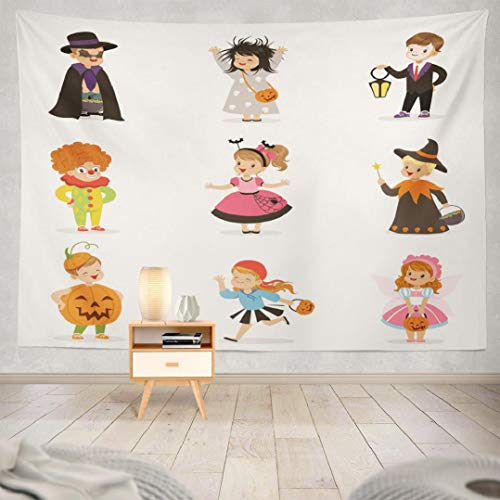 Happy Halloween Tapestry Wall Hanging Decor,Hdmly Decorative Wall Tapestry Cute Happy Little Kids Colorful Halloween Children 60