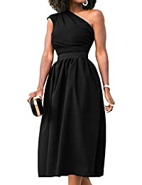 Womens One Shoulder Dress Formal Evening Elegant Sleeveless Midi Dresses Pockets