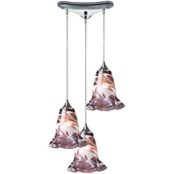 Elk 31342/3VPUR Vestido 3-Light Pendant with Purple Glass Shade, 10-Inch, Polished Chrome Finish