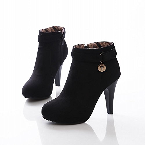 Black Dress High Faux Heels Ankle Boots Latasa Women' Suede xP8wCYtHq