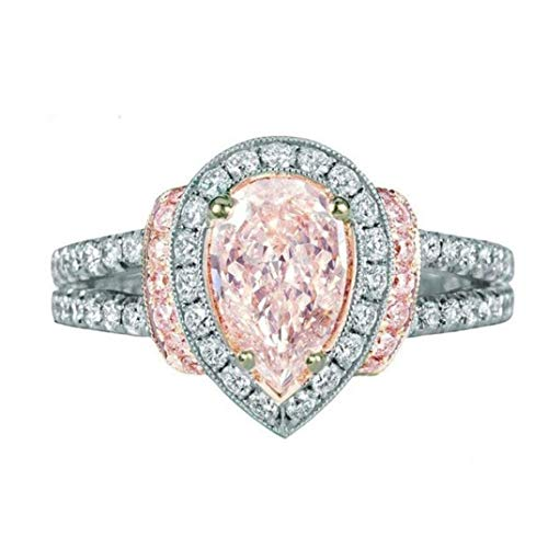 (Sinwo Womens Diamond Jewelry Ring Wedding Band Engagement Rings Gift (8, Pink))