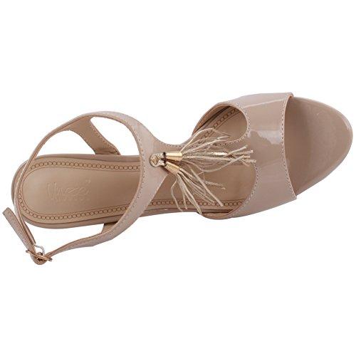 Unze Frauen Iris Fringe Detail Mid Low High Heel Party Prom Zusammen Karneval Abend Sandalen Schuhe UK Größe 3-8 - 8T8555-56 Beige
