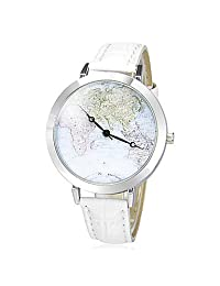 watches, Women's Map Pattern Round Dial Pu Band Quartz Analog Wrist Watch (Assorted Colors) ( Color : White )