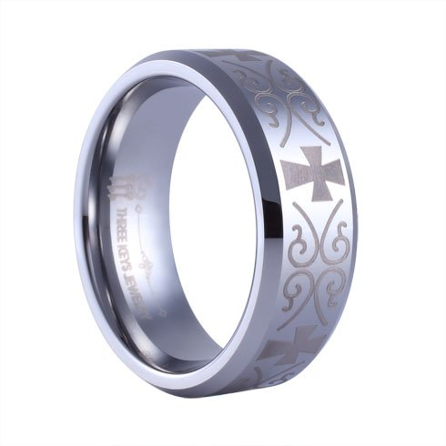 Three Keys Jewelry 8mm Tungsten Carbide Rings Wedding Engagement Band Plat Beveled Edge Silver Laser Medival Celtic Cross Size 12 (Platinum Celtic Bands compare prices)