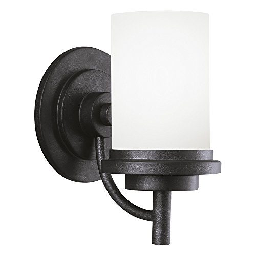 (Sea Gull Lighting 44660-839 Winnetka One-Light Bath or Wall Sconce with Satin Etched Glass Shade, Blacksmith Finish)