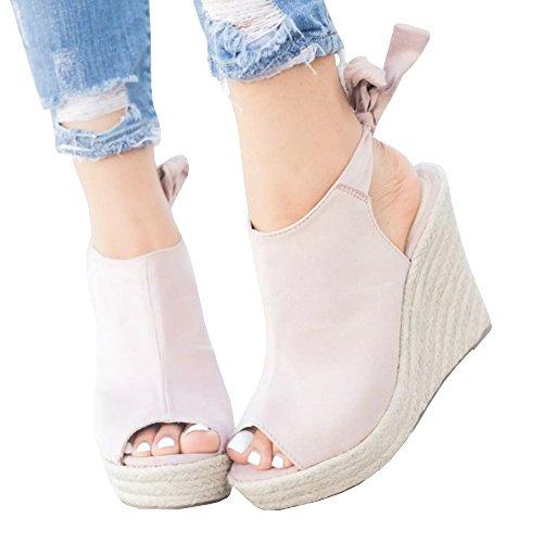 Sheleau Womens Back Knot Slingback Espadrille Platform Wedges Peep Toe Heels Sandal Shoes Pink
