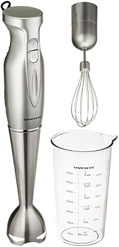 Ovente Multi-Purpose Immersion Hand Blender Set - 300-Watts, 2-Speed - Stainless Steel Blades and Detachable Shaft - Includes Egg Whisk and BPA-Free Beaker (24 oz) - Silver (HS583S)