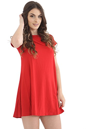 Damen Gap Short Sleeve Swing Skater Party Kleid Top Rot VPtf2yGh ...