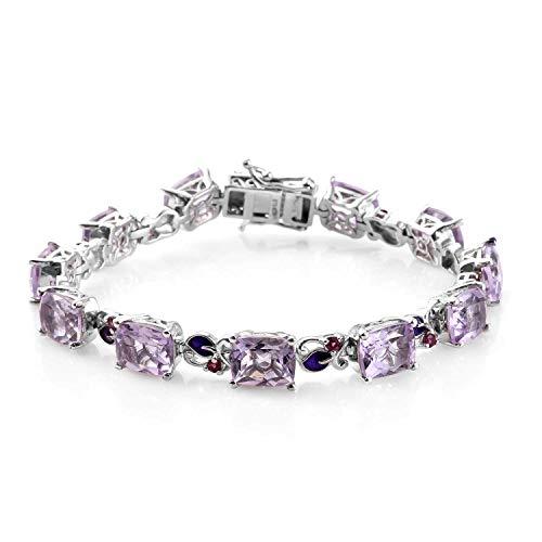 Amethyst Bracelet Rhodolite (925 Sterling Silver Platinum Plated Pink Amethyst Rhodolite Garnet Bracelet for Women 7.25