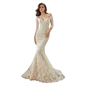 68f1a0727a8 DingDingMail Women s Off-Shoulder Lace mermaid Wedding Dress for Bride 2017  New 3 4 Sleeve Mermaid Chapel Wedding Gowns (046)