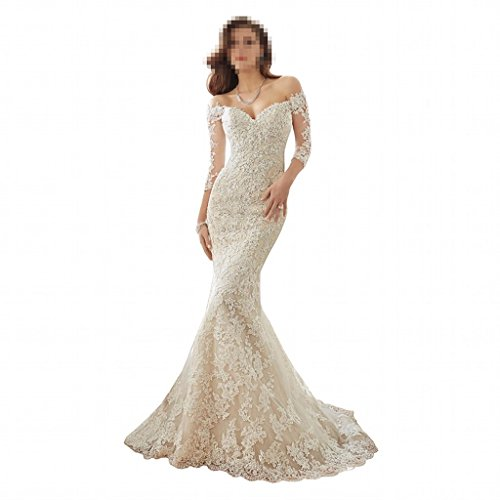 DingDingMail Women's Off-Shoulder Lace mermaid Wedding Dress for Bride 2017 New 3/4 Sleeve Mermaid Chapel Wedding Gowns (046) by DingDingMail