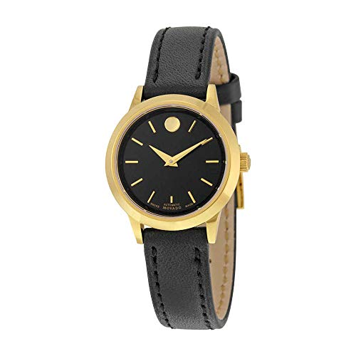 Movado 1881 Automatic Black Dial Gold PVD Ladies Watch 0606925