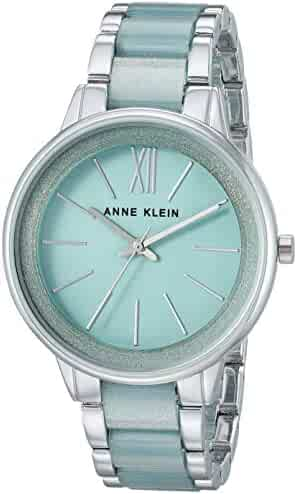 Anne Klein Women's AK/1413MISV Silver-Tone and Mint Green Resin Bracelet Watch