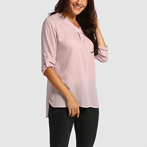 Irrgulier Blouse Et Mousseline Cou 3 Bouffant V Chemise Uni Battercake Jeune Femme Confortable Mode Elgante Blouse Casual Mode Shirt Rose Dame Manches Top Manche 4 qOYwTz
